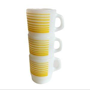 Vtg 3 Termocrisa Mug Milk Glass Yellow Striped